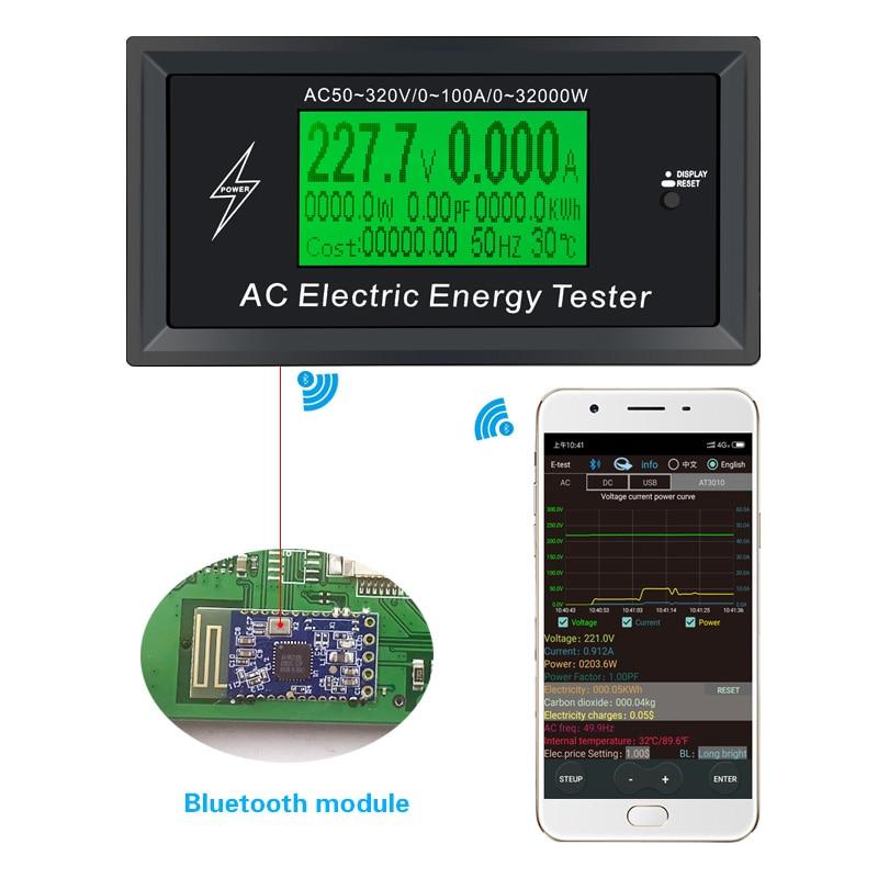 3KKW Numérique Tension téléphone app AC Mètres indicateur Puissance D'énergie Voltmètre Ampèremètre actuel Ampère Volt wattmètre testeur détecteur