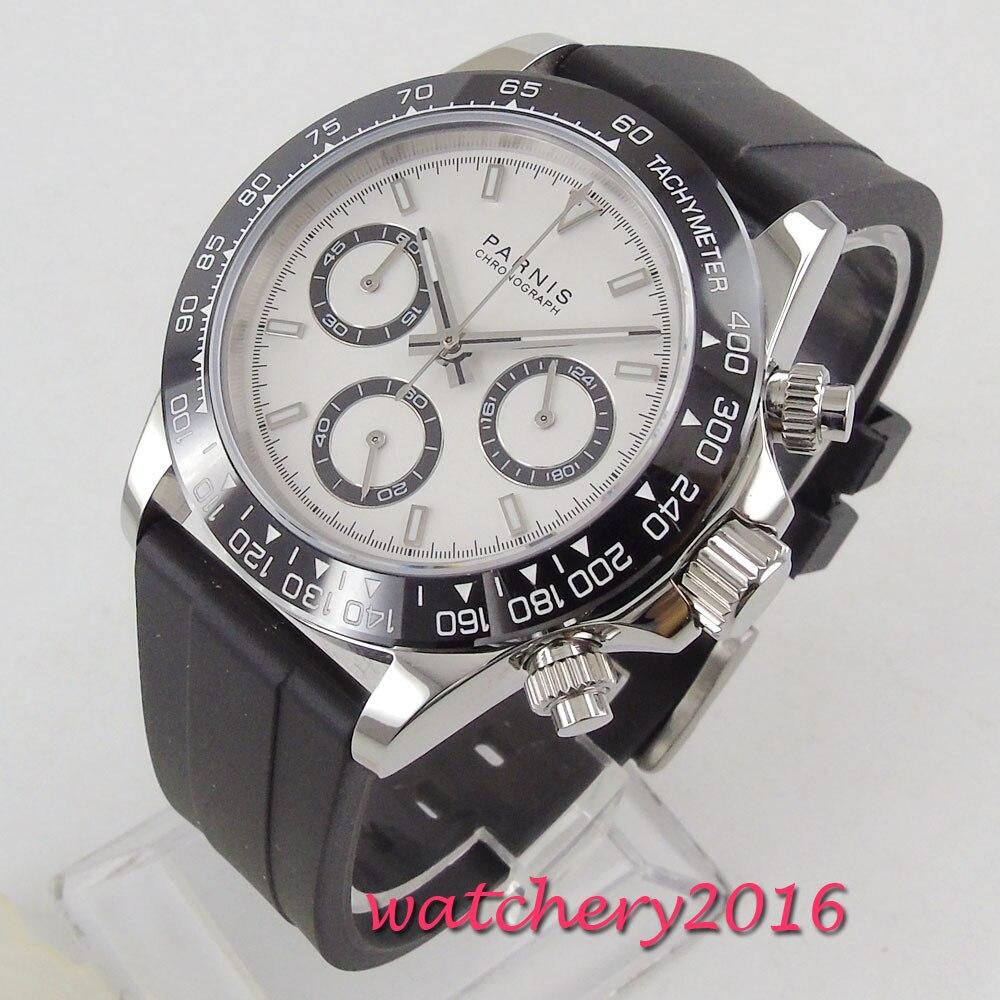39mm PARNIS cadran blanc saphir verre chronographe bracelet en caoutchouc mouvement à Quartz montre pour hommes - 3