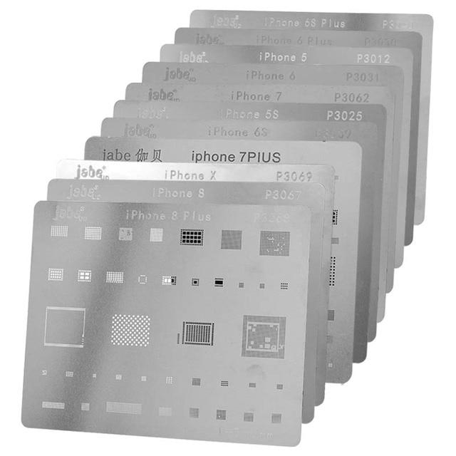 12pcs IC Repair BGA Rework Reball Reballing Stencils Set for iPhone X 8 Plus 8 7 6 6S 5S 4S Template Repair Direct Heating Tools