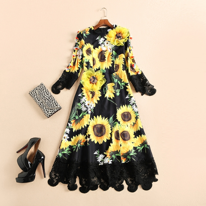 Top quality New 2017 brand fashion spring summer sunflower patterns print appliques women sexy dress black lace mermaid dresses new mini 4in1 patterns sunflower whirlwind r