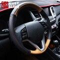 Kust cobertura de volante de couro capa de proteção para tucson 2015 capa para hyundai tucson para 2016 acessórios de aço de direcção do carro
