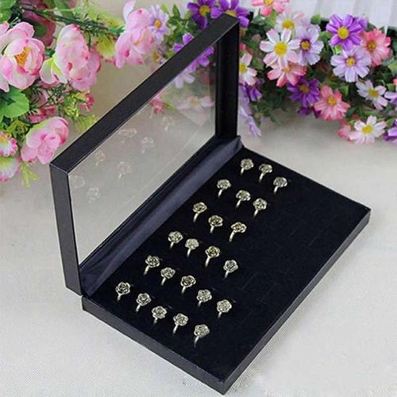 36-Bit Ring Earring Organizer Engagement Velvet Necklace Jewelry Display Stand Gift Box Ring Bracelet Storage Case Jewelry Box