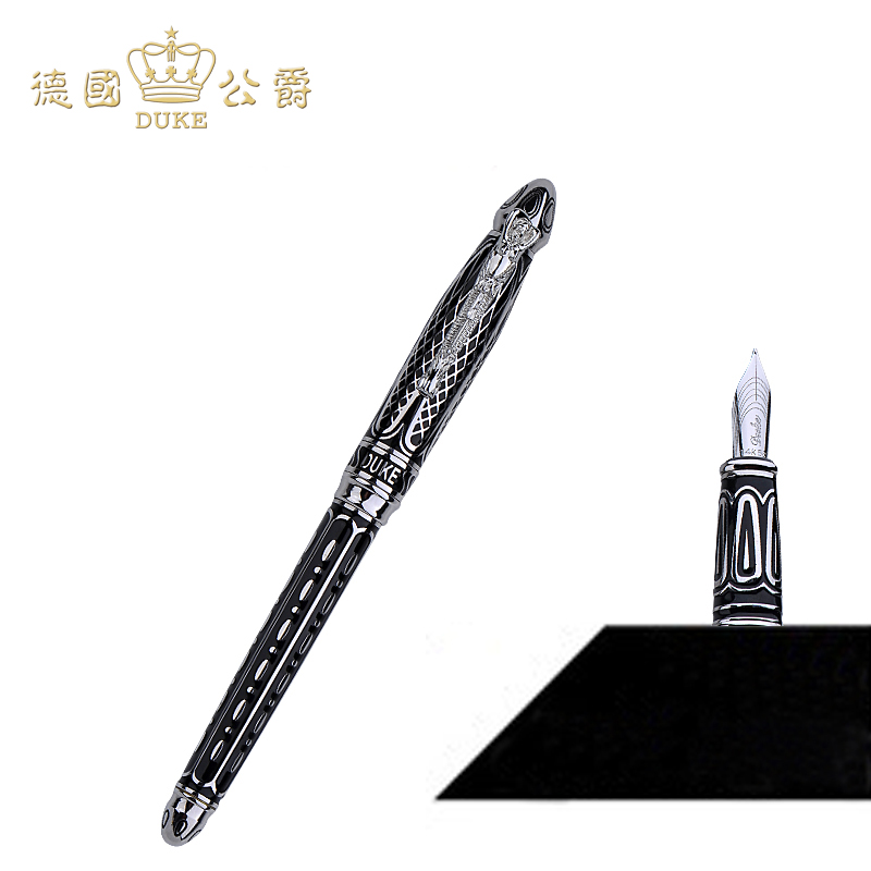 все цены на Luxury 14k Gold Pen Germany Duke Fountain Pen High-end 0.5mm Nib Ink The Best Business Gift with Pen Case Free Shipping онлайн