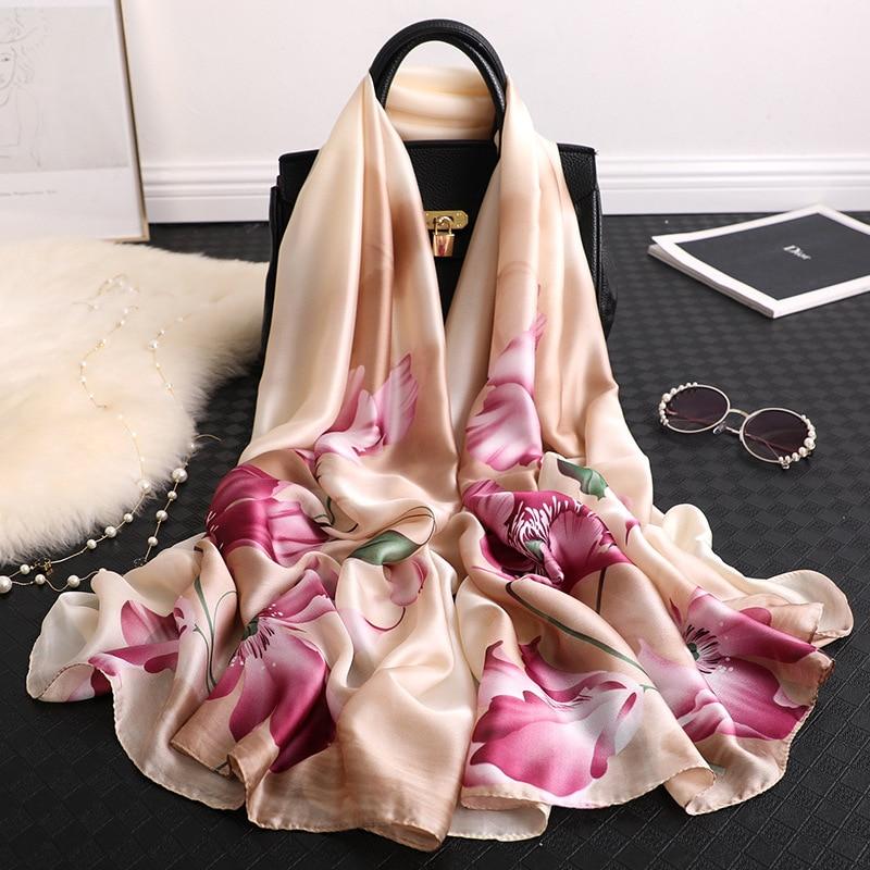2020 BIG Size Pashmina For Women Summer Scarf Hijabs Silk Shawls And Wraps Ladies Headband Print Bandana Foulard Femme Echarpe