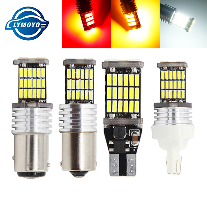 100pcs T15 T20 1156 BA15S P21W W16W 45SMD 4014 LED CANBUS NO ERROR Car Tail Bulb