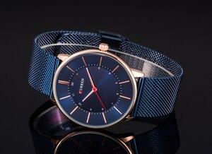 Image 3 - CURREN nowa moda prosty styl biznes mężczyźni zegarki Ultra cienkie męskie zegarki na rękę kwarcowy wodoodporny zegar Relogio Masculino