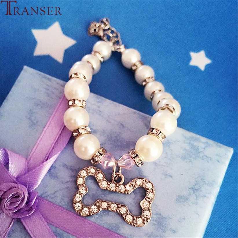 Transer Pet Dog Supply collar de perlas para perros joyería con colgantes de diamantes de imitación accesorios de aseo productos perro mascota 80223