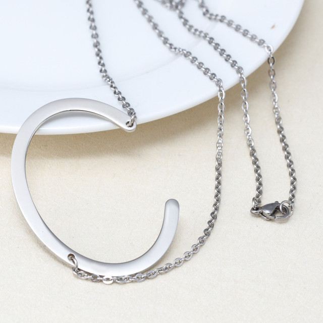 Fashion letter necklaces pendants alfabet c initial necklace silver fashion letter necklaces pendants alfabet c initial necklace silver stainless steel choker necklace femme jewelry kolye aloadofball