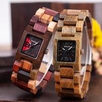 Reloj femenino de madera cuadrado pulso madera