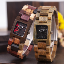 Wooden Ladies Watches Women Wood Watch BOBO BIRD Bamboo Wristwatch Quartz Square in Wood box Girl friend gift bobo bird g26 brand design mens bamboo watch green second pointer quartz watches for men women as best gift wood gift box