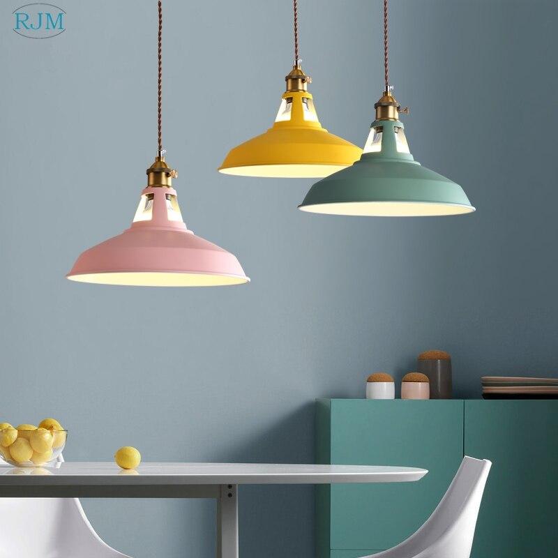 Nordic Simple Modern Iron Hang Lamp Creative Single Macaron Pot Cover Pendant Lights For Cafe Restaurant Bar Living Room Bedroom