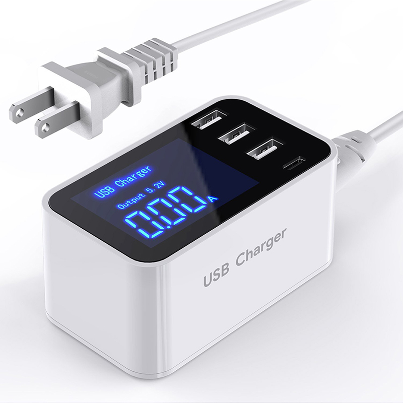 Fast Charging USB Type-C Charger 4 Port Desktop Charger Travelling Adapter Hub LED Display Multiple USB Type-C Charger Station