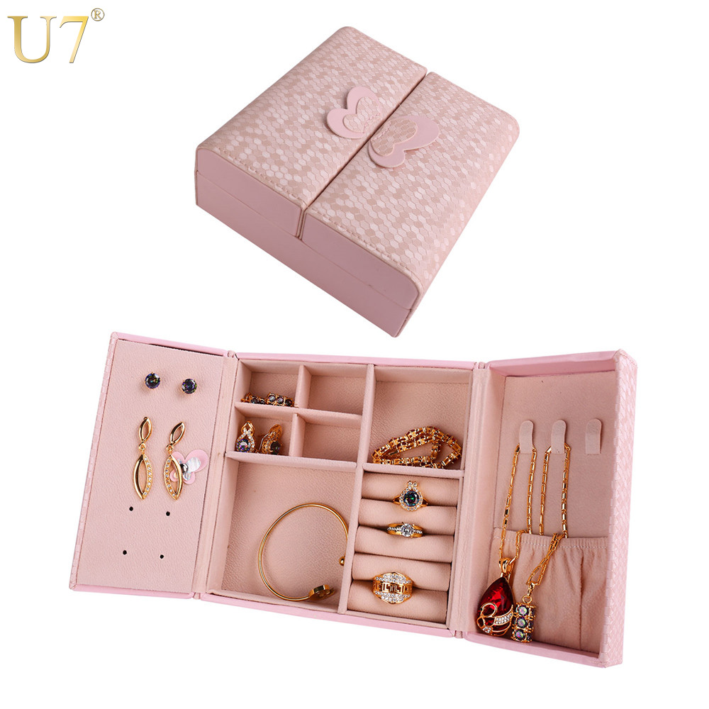 U7 Pink/Blue Jewelry Organizer Box PU Leather Travel Makeup Cosmetic Case Women Wedding Decoration Bridesmaid Gift For Her OB03