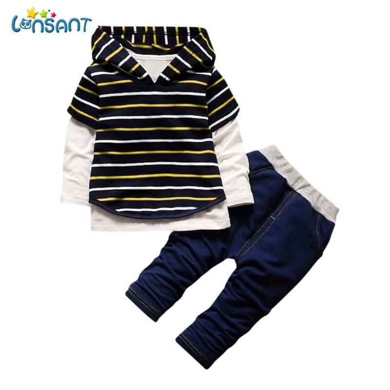 LONSANT Clothing Sets Kids Baby Clothes Casual Hoodie Stripe Shirt Top Long Pants Roupas Infantis Menino Unisex Dropshipping D18