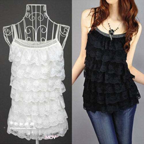 Hot Summer Korean Fashion Women's Slim Lace Tops Sleeveless Top Tees Casual Tank Tops Vest Pink Red Black Yellow White