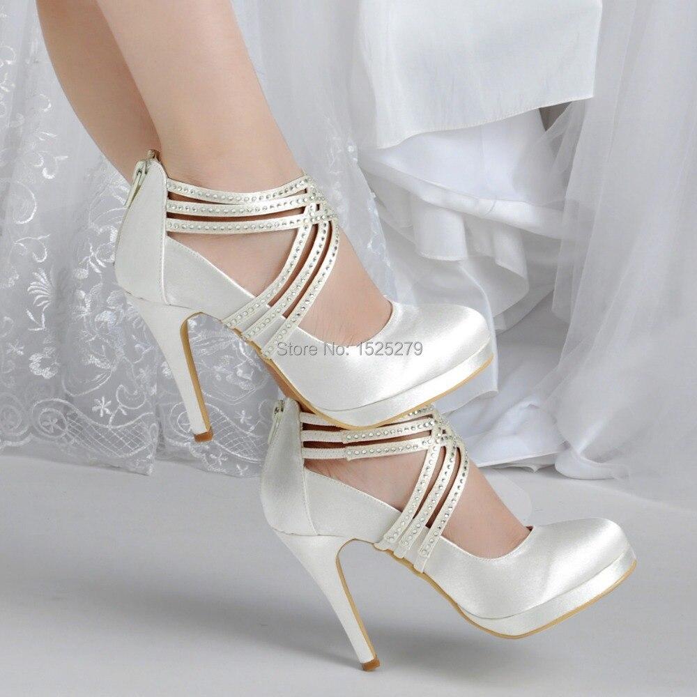 e7b763951a4e9d Chaussures femme EP11085 PF blanc ivoire femmes chaussures talon haut  strass plates formes pompes fermeture éclair sangle Satin mariage  chaussures de fête ...