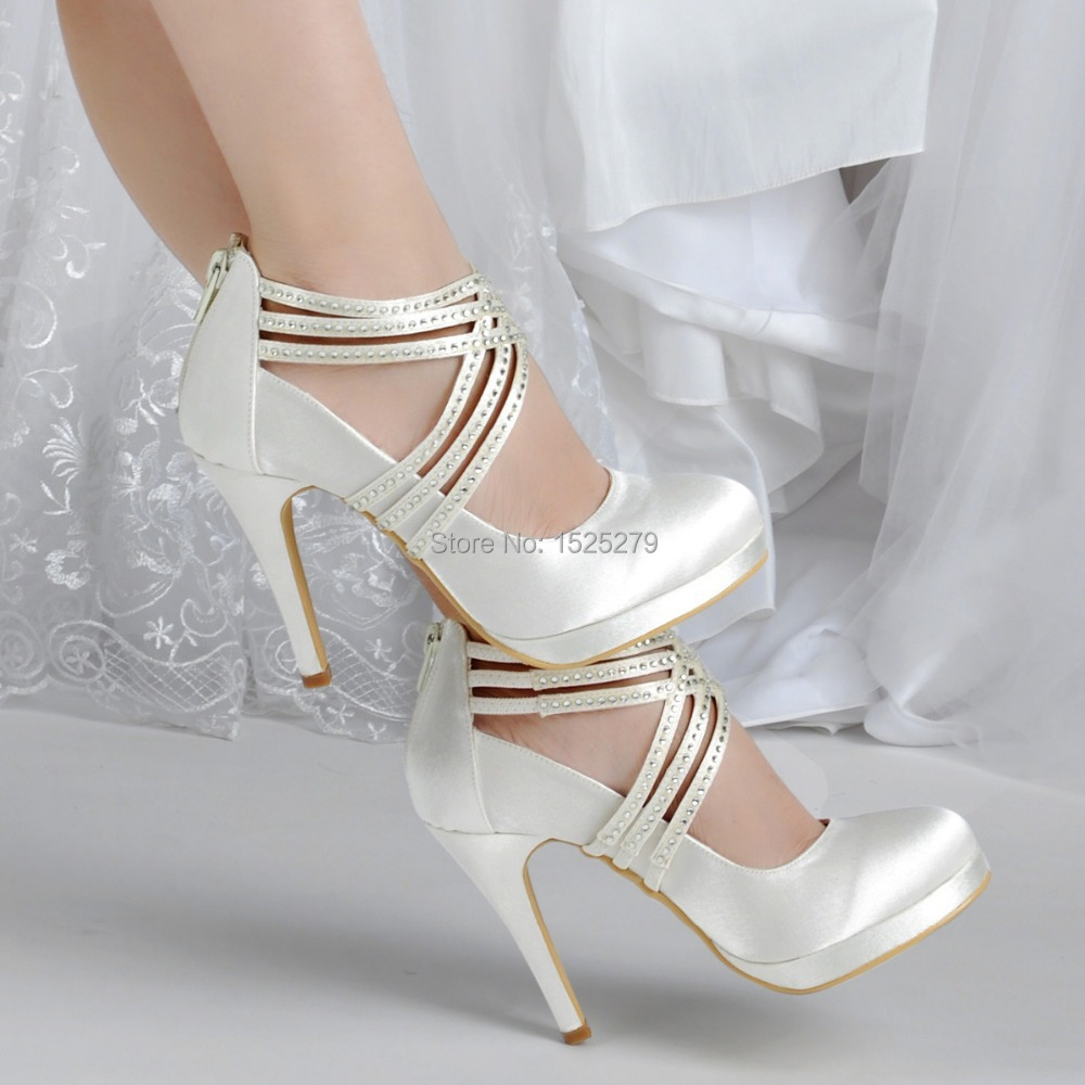 Shoes Woman EP11085 PF Ivory White Women Shoes High Heel Rhinestones  Platforms Pumps Zip Strap Satin Wedding Bridal Party Shoes-in Women s Pumps  from Shoes ... ec975b96bca9