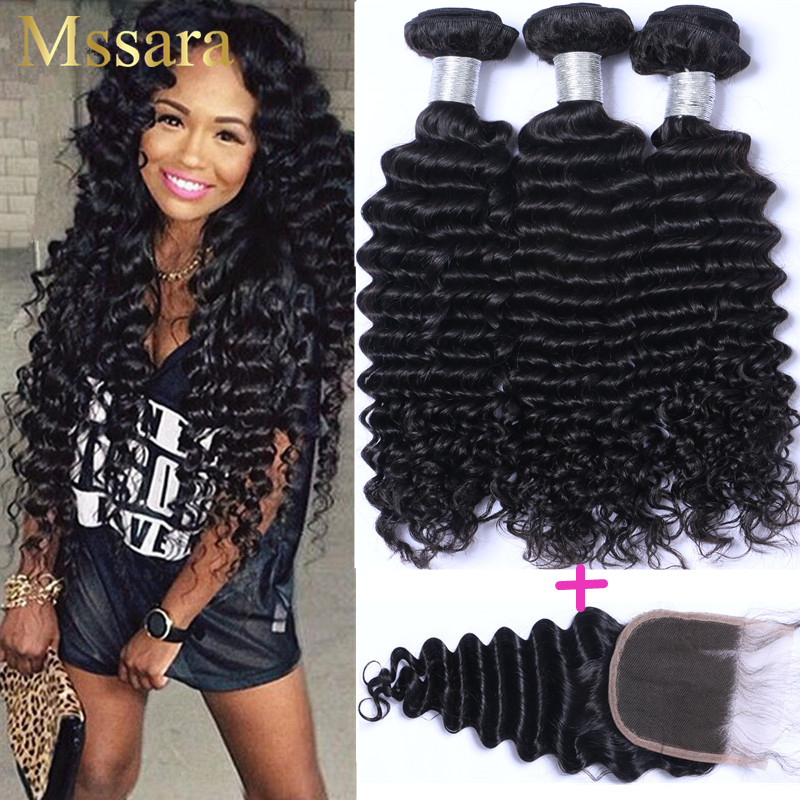 Brazilian deep wave hair with closure 8a Mink virgin hair bundle deals alimoda deep wave brazilian hair bundles with closure