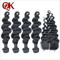 Необработанные свободная волна бразильские человеческие волосы девственницы 4 шт. пучки волосков с 3.5 x 4 кружева оптовая продажа шнурок с пучки
