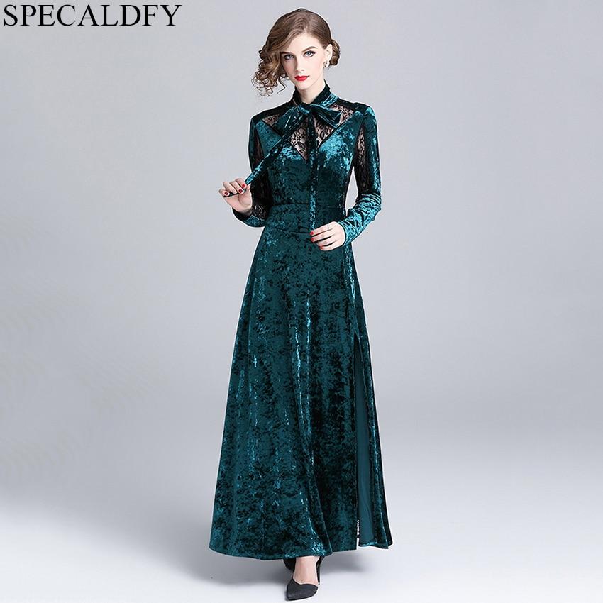2019 haute qualité femmes mode Vintage Robe printemps hiver vert velours Robe femmes longues Maxi robes fête Robe Femme Ete