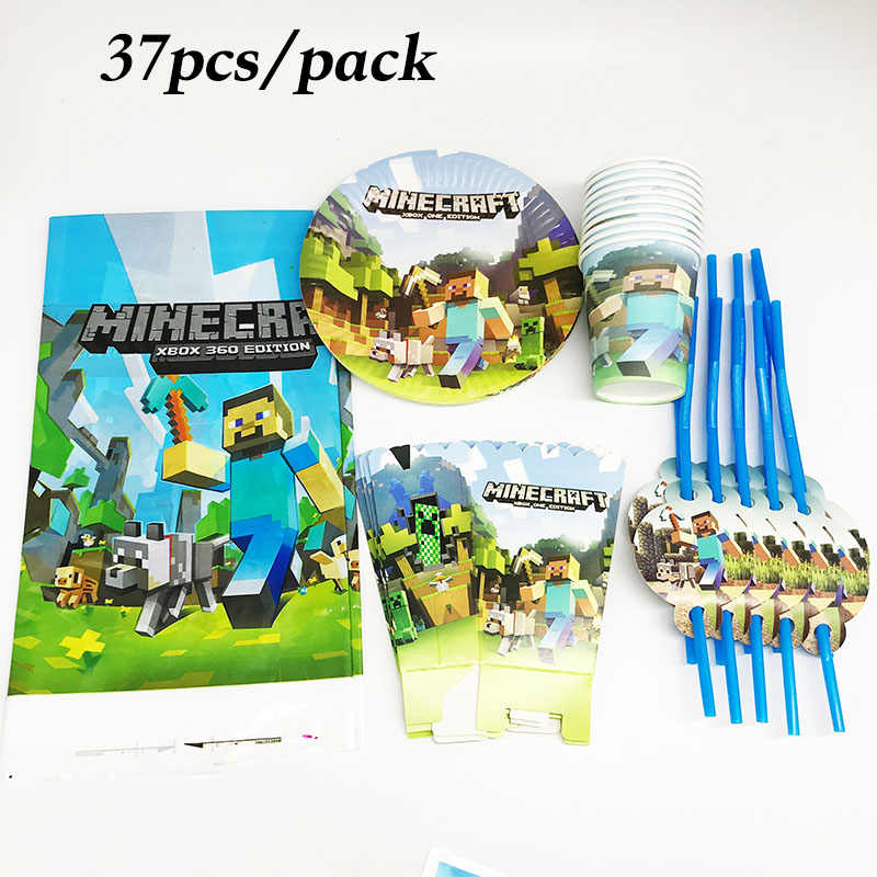 37pcs Minecraft plates cups straws popcorn boxes Minecraft theme disposable tablecloths Minecraft birthday party supplies