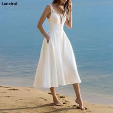 Vestido midi com renda branco, elegante, com alça espaguete, sem mangas, sexy, gola em v, vestidos de praia, feminino, para o verão