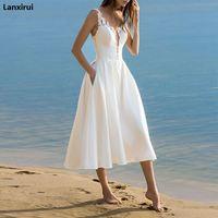 Elegante Weiße Spitze Spaghetti Strap Midi Kleid Sommer Sexy Ärmelloses V ausschnitt Strand Kleider Frauen Party Vestidos-in Kleider aus Damenbekleidung bei