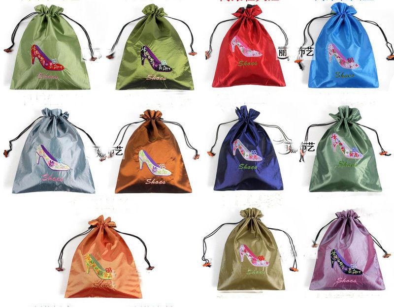 Whole 10pcs 28 37cm Whole10pcs Chinese Vintage Embroiderd Silk Cloth Shoe Bags Storage Bag In From Home Garden On Aliexpress