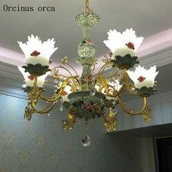 Europejski luksusowe ceramiczny kwiatek żyrandol salon sypialnia francuski idylliczne sen LED żyrandol darmowa wysyłka