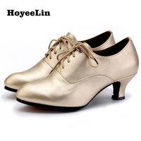 HoYeeLin Ballroom Party Dance Shoes Women Ladies Lace Up Closed Toe Tango Waltz Standard Modern Dancing Shoes Mid Heels