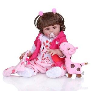 Image 2 - NPK 48 CM bebe pop reborn peuter meisje pop in roze jurk full body zachte siliconen realistische baby Bad speelgoed waterdicht