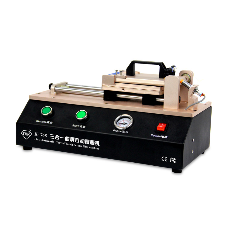 Newest 3 in 1 TBK-768 Automatic Curved Touch Screen OCA Film Laminating Machine For S6 S7 Edge plus  Laminator for Curved Screen