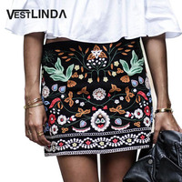 Vintage Retro Floral Print Embroidered Pencil Short Skirt Women High Waist Black Boho Mini Casual Ethnic