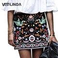 Vestlinda bordado saia lápis curto saias das mulheres de cintura alta preta boho vintage mini casual floral bordado saia das mulheres