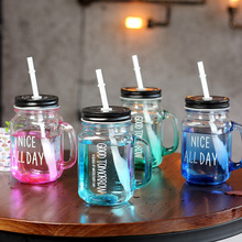 Abay Glass Water Cup With Lid And Milk Tea Straw 25 Kinds Of Optional Mason Cans For Fruit Cold Drink Cups