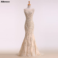 Champagne Sequined Sexy Mermaid Wedding Dress 2017 Real Photo Elegant Wedding Dresses Fancy Bride Dress Lace
