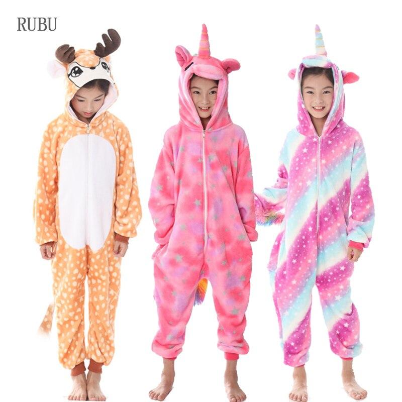 1728dbfa Kigurumi Unicornio pijama para niñas niños ropa de dormir de invierno  Animal Panda Unicornio Cosplay pijamas