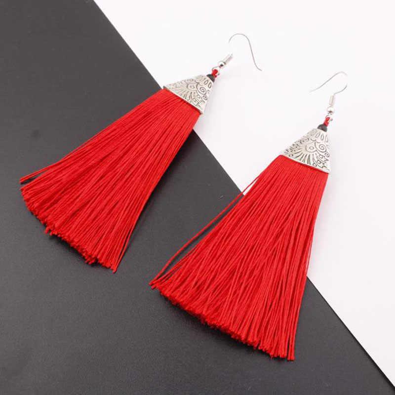 Vintage Tassel Earrings Women Fashion Brand Jewelry Geometric Silver Color Simple Dangle Drop Earrings