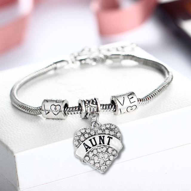 Fashion Aunt Gifts Clear Crystal Heart Charms Bracelet Love Beads Chain Bangle Women Family Bracelets