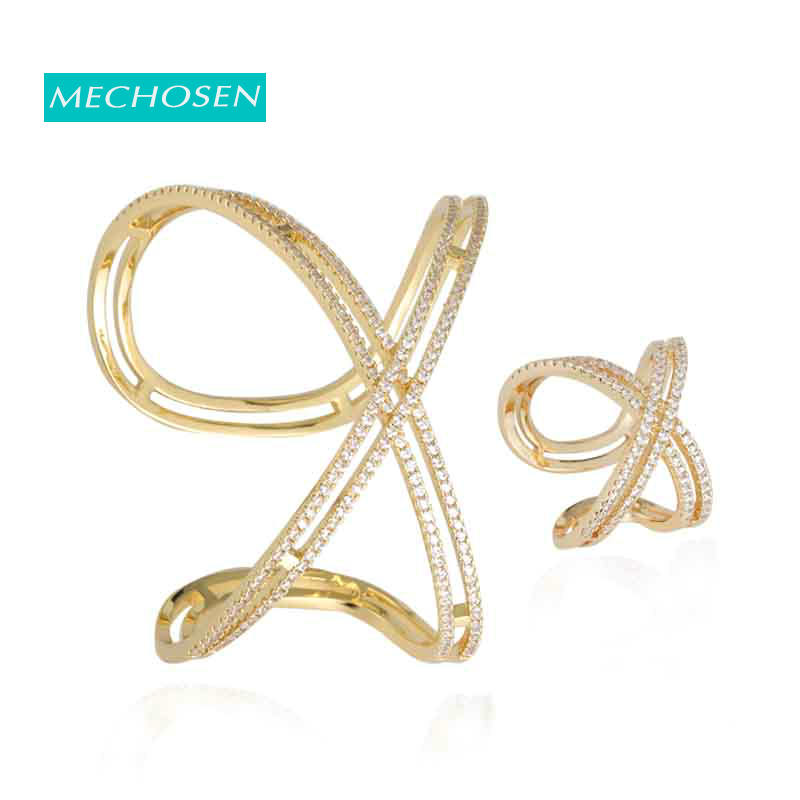 MECHOSEN Fashion Luxury Dubai Gold Color Open Ring Bangle Super Shiny AAA Cubic Zirconia Lady Geometry Precious Accessories Gift