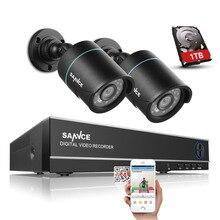 SANNCE 4CH 720 P HD Gözetim DVR Kaydedici ve (2) 1280TVL 1.0MP Açık Sabit Güvenlik Kameraları ile Süper Gece Görüş