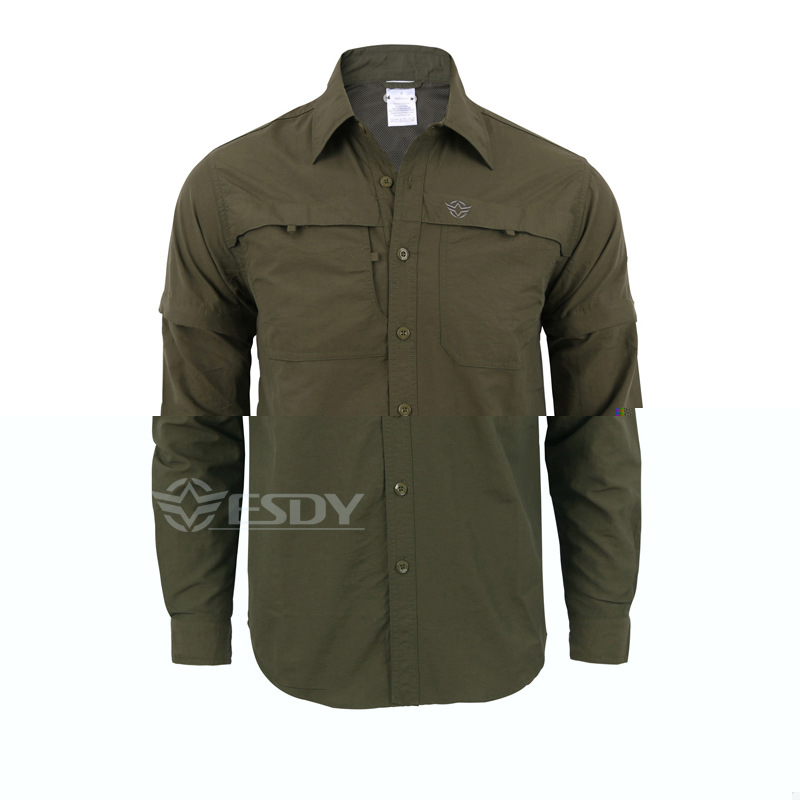 Esdy men 39 s quick dry shirt tactical clothing long sleeve for Mens long sleeve uv protection shirt