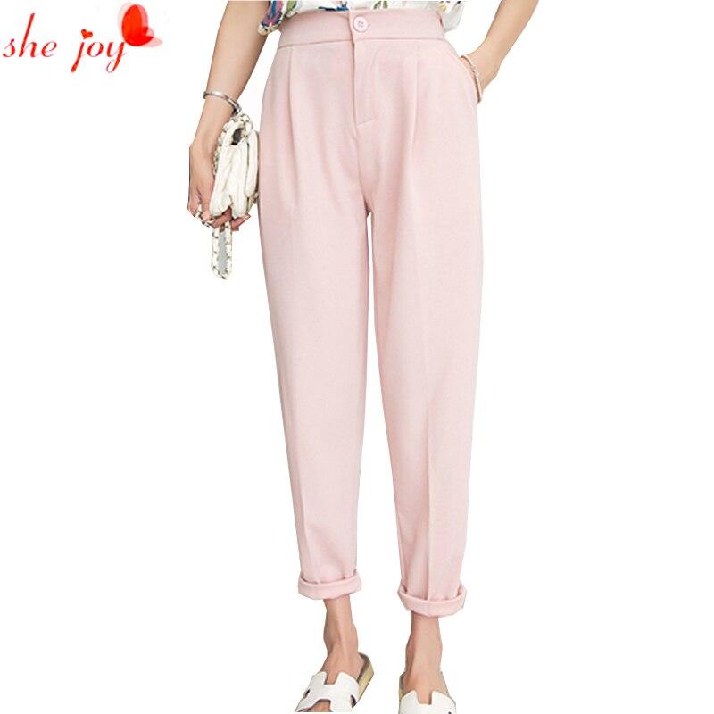 New Casual Spring Autumn Pencil Pants Harem Women High Waist Trousers Slim S-XXXL Pink Black Gray Front Zip Pants