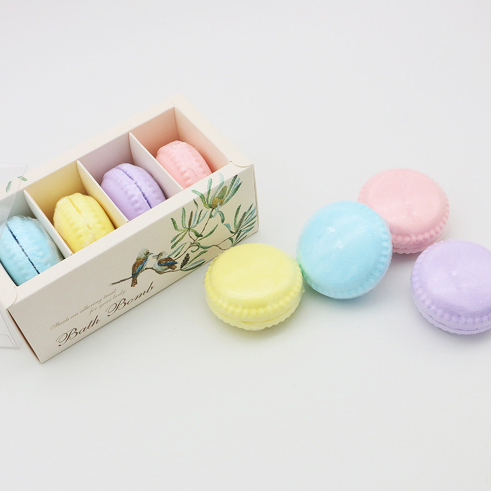 Fizzy Macaron Bath Bombs Salt Organic Bath Bomb Gift Set Kit Strawberry Mouthwatering Cupcake Exfoliating Bathing Explosive Salt