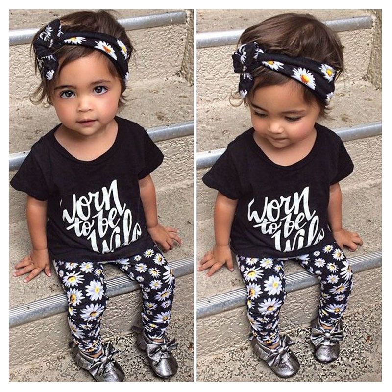 KEOL Best Sale 3pcs Kids Toddler Baby Girls Tops+Pant+Headband Outfits Costume Clothes , black , 5-12 Months