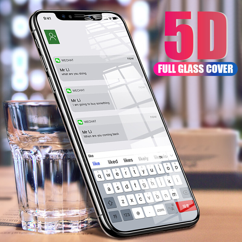 5d curved for iphone x case For iphone 10 7 6 s x 6s 8 plus tempered glass For iphone 8plus 7plus 6plus i8 i7 protective Flim