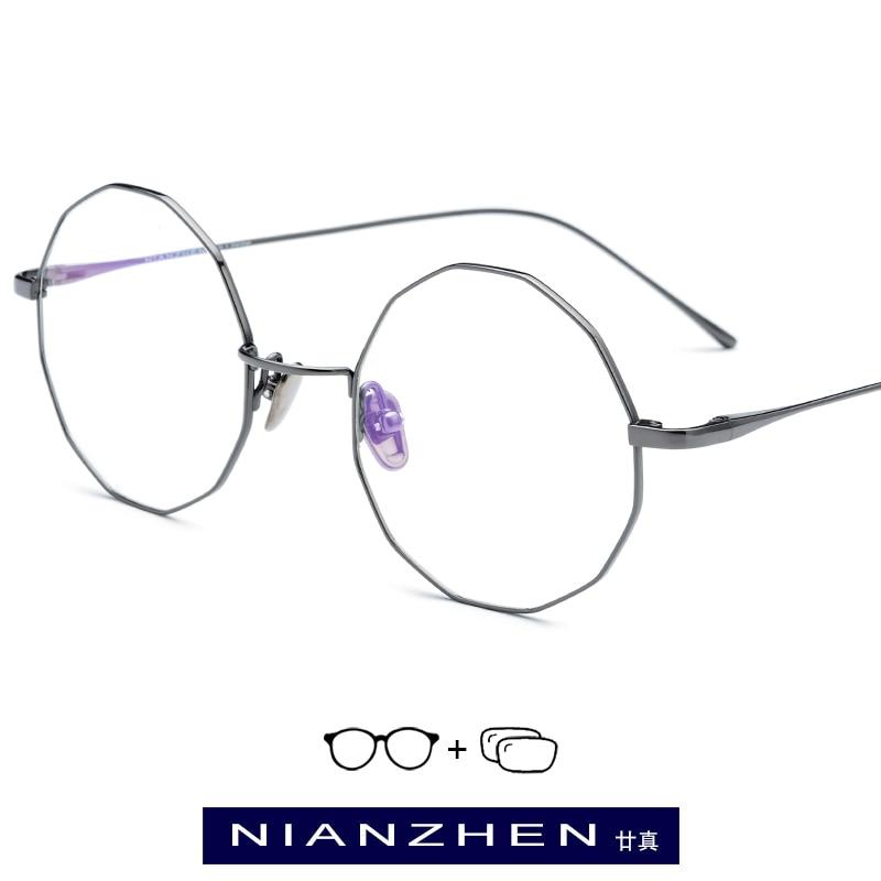 B Titanium Eyeglasses Frame Women Vintage Polygon Myopia Optical Frames Prescription Glasses for Men 2019 Retro Eyewear 9138