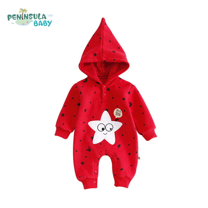 Fashion Embroidery Star Boy Girl Baby Rompers Winter Warm Long Sleeve Cotton Infant Jumpsuit Newborn Hooded Christmas Clothing cotton newborn infant boy girl baby christmas romper jumpsuit outfit autumn winter long sleeve rompers