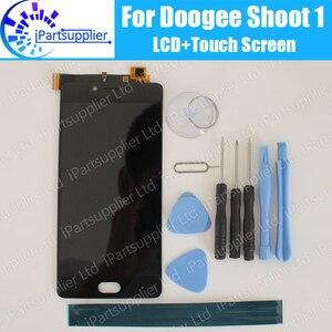 Image 1 - Doogee تبادل لاطلاق النار 1 شاشة الكريستال السائل شاشة تعمل باللمس 100% الأصلي LCD محول الأرقام زجاج لوحة استبدال ل Doogee تبادل لاطلاق النار 1 أداة لاصق