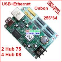 Onbon bx-5q, usb+ethernet port, 2 hub75, 4 hub08,support 256*65 pixel,  gray grade async controller, cheapest full color control